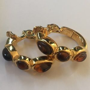Monet mint condition amber stone clip earrings